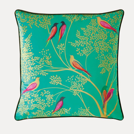 Green Birds Feather Filled Cushion