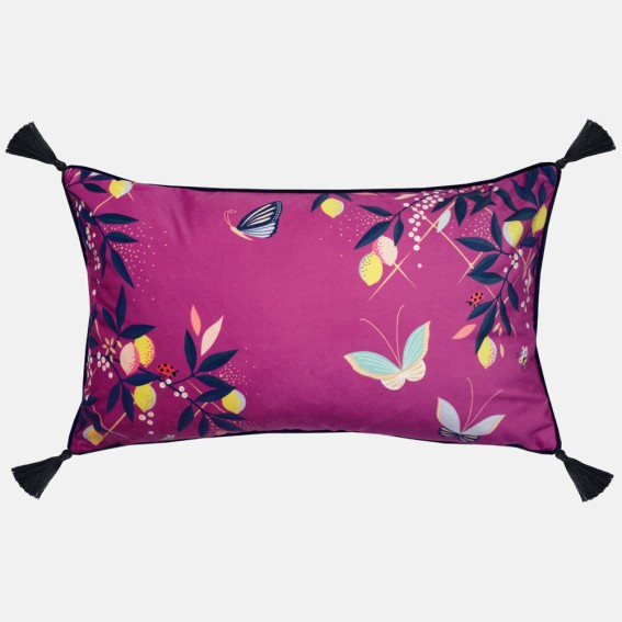 Deep Mauve Orchard Butterfly Feather Filled Cushion