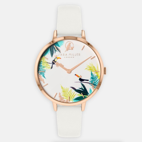 Toucan Rose Gold White Watch