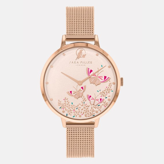 Butterfly Rose Gold Mesh Watch