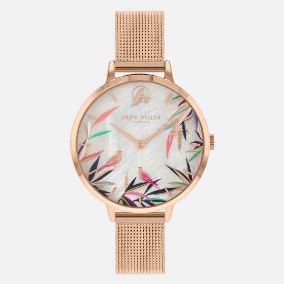 Pearl Bamboo Rose Gold Mesh Watch