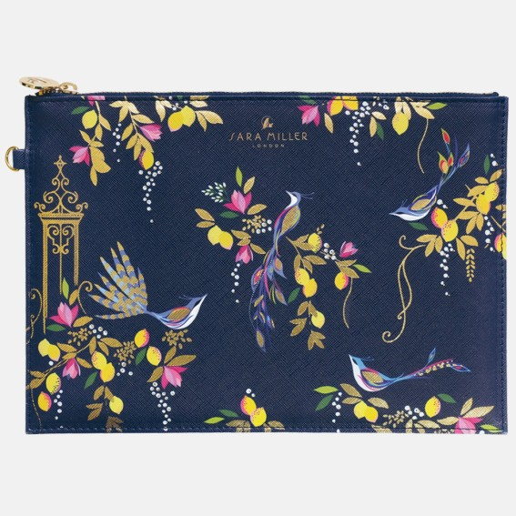 Navy Orchard Birds Pouch