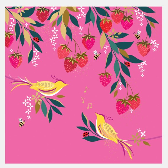 Pink Musical Birds in Strawberry Tree Card