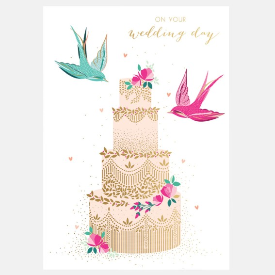 Swallow Tiered Cake Wedding Card