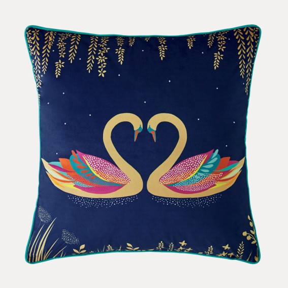 Navy Swan Feather Filled Cushion