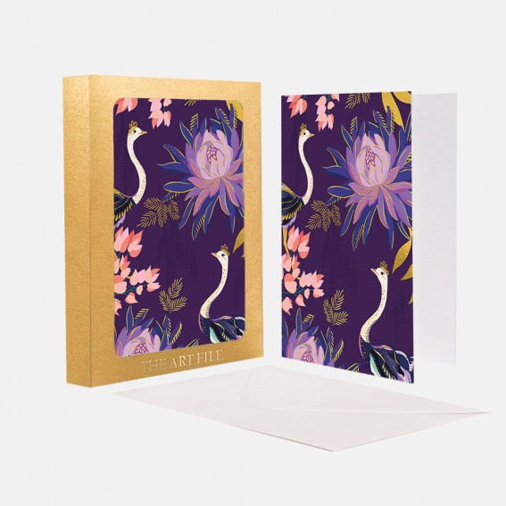Floral Ostrich Notecard  - Set of 10 Cards