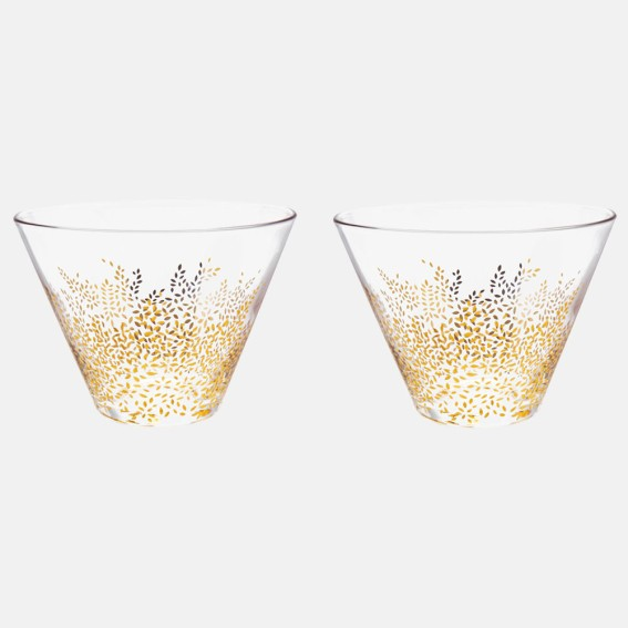 Gold Leaves Glass Bowls - Set of 2