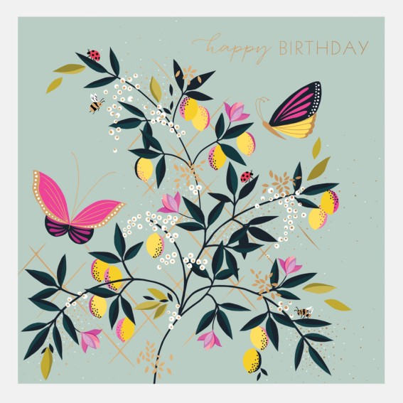 Orchard Duck Egg Butterfly Birthday Card